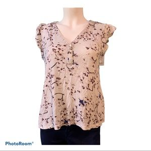 Blouse Anna Glover by H&M beige plum blue accent.